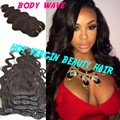 "8A Body Wave Clip In Human Hair Extensions Brazilian Virgin Hair Clip-ins Hair Weft Clip-in Hair Extensions 8""-30"""