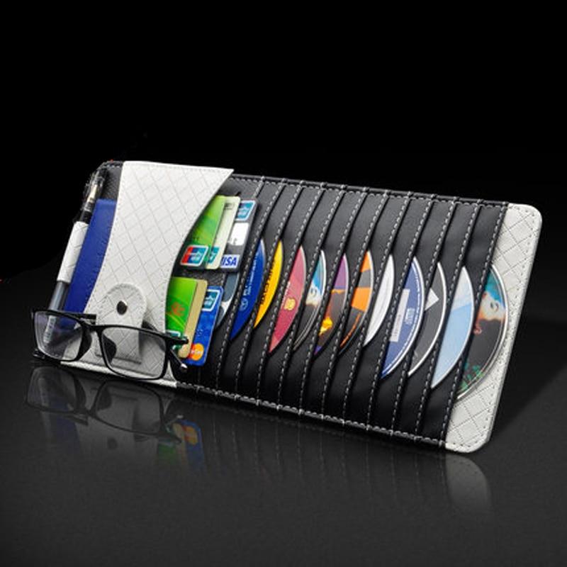 Leather Car Sun Visor CD Holder Storage Bag DVD Card Case License Storages Organizer Sunshade Glasses Clipper Bags Pockets