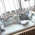 6 UNIDS cuna parachoques, Combinación Flexible acolchado del respaldo, aimal elefante cuna bumpers, suave bebé cama alrededor de la protección