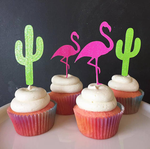 GLITTER Fiesta Flamingo and Cactus wedding birthday cupcake toppers