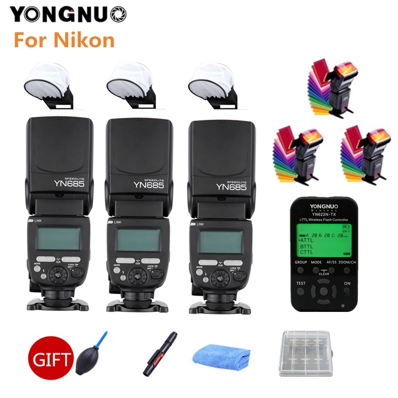 купить 3PCS YONGNUO YN685N Flash Speedlit YN685 Wireless HSS TTL Speedlight + YN622N-TX Trigger for Nikon 100D 1100D 1200D DSLR Camera по цене 3399.2 рублей