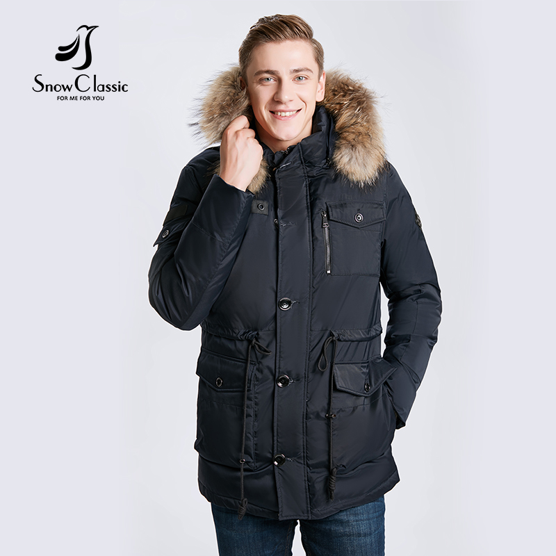 SnowClassic 2017 men fashion business casual large size fur tie hat cotton jacket jacket multi-pocket warm 17544