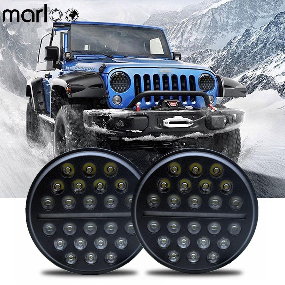 Marloo Black 7 inch Hi/Low DRL LED Projection Headlights Kit For 1997-2017 Jeep Wrangler JK Sahara Rubicon TJ Auto Led Headlight 2x dot 7 inch led headlights turn signal drl bulbs set kit projector 90w for jeep wrangler jk lj jku tj cj sahara rubicon