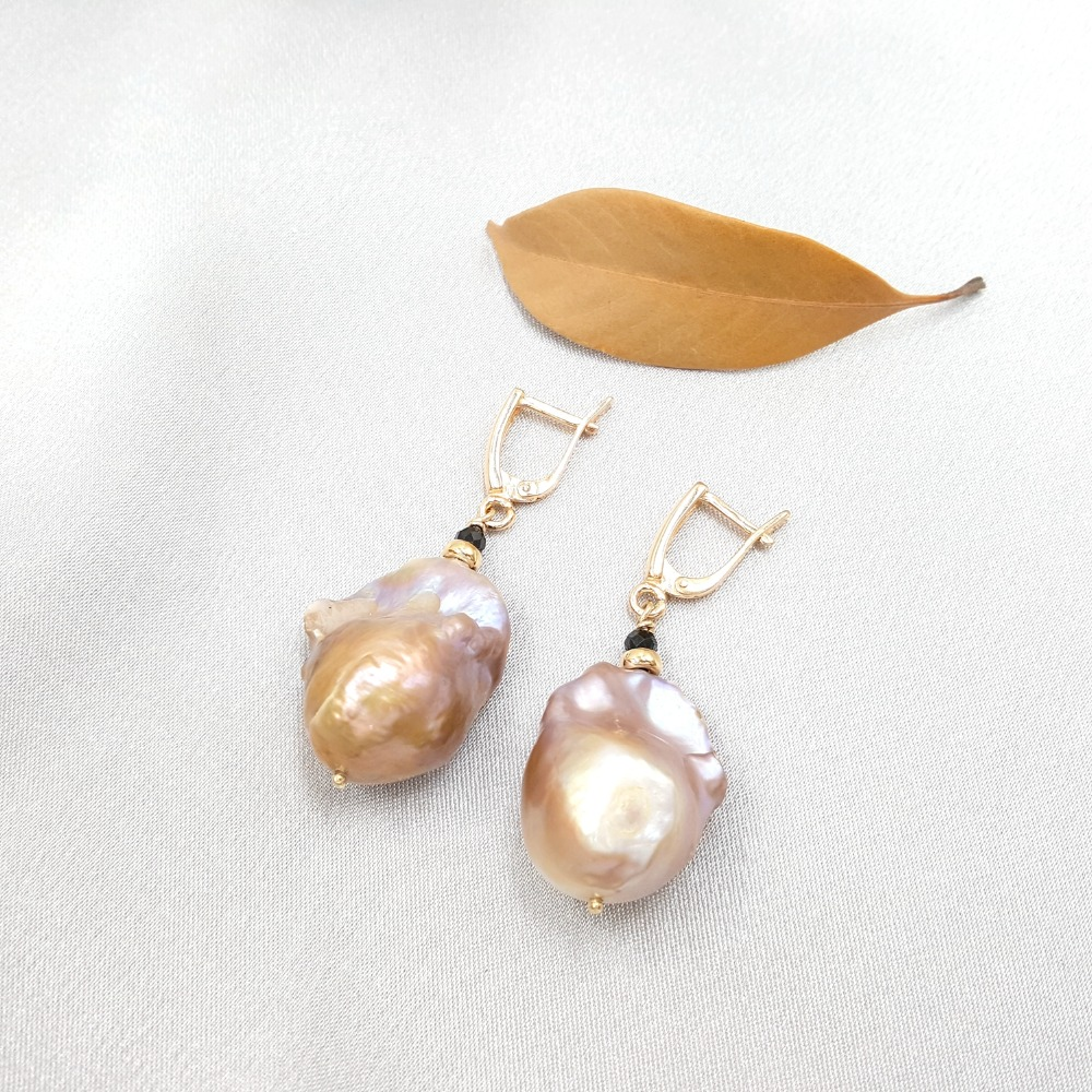 Lii Ji Natural Black Spinel,Pink Purple Baroque Pearl 925 Sterling Silver 18K Gold Plated Long Earrings Women Fashion Jewelry