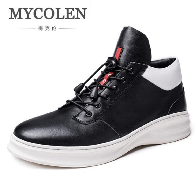 MYCOLEN 2017 Autumn Black Men's Casual Shoes Trend Male Breathable Men Shoes Sneaker Flats Top Classic Leather Shoes scarpe men casual shoes breathable all match male british leather breathable sneaker fashion shoes