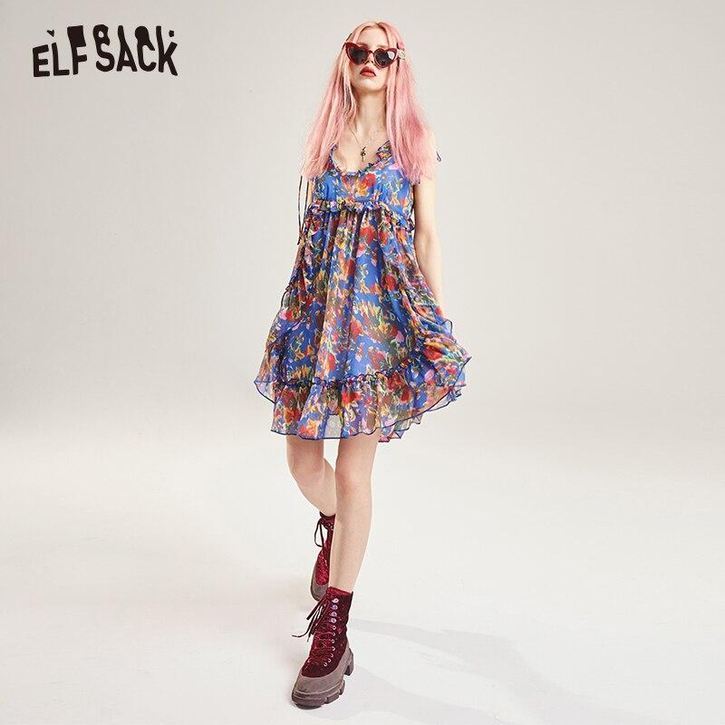 ELF SACK Vintage Floral Print Women Party Dress Sexy V Neck Off Shoulder Strap Female Dresses