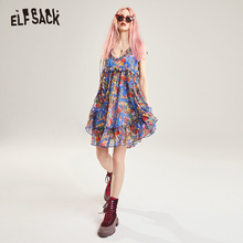 ELFSACK Vintage Floral Print Women Party Dress Sexy V-Neck Off Shoulder Strap Female Dresses Fashion Chiffon Holiday Dress