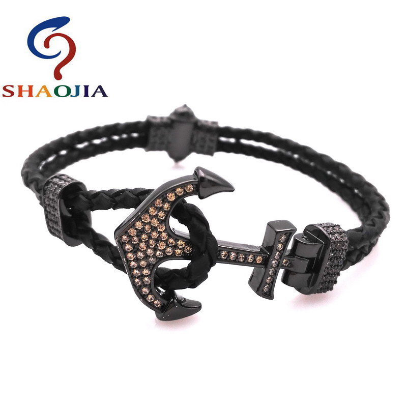 SHAOJIA FASHION Men Bracelet Micro-white Zircon Black Braided Rope Anchor Leather Chain Bracelets Punk Rock Style Male Jewelry