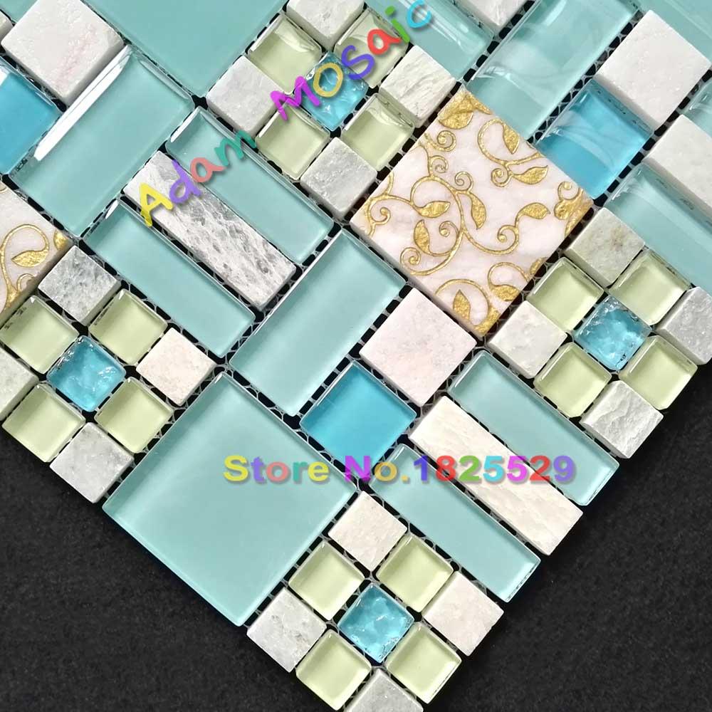 sky blue stone tiles kitchen backsplash oceran blue glass tile ...
