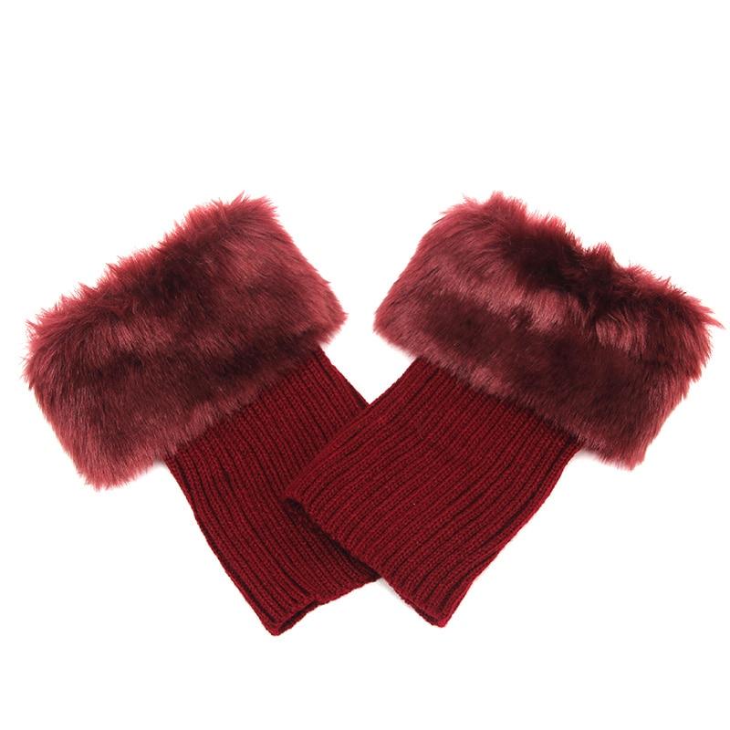Горячая Распродажа, женские зимние меховые ножки гетры, мягкие сапоги из искусственного меха с манжетами, зимние носки под сапоги, модные аксессуары - Цвет: wine