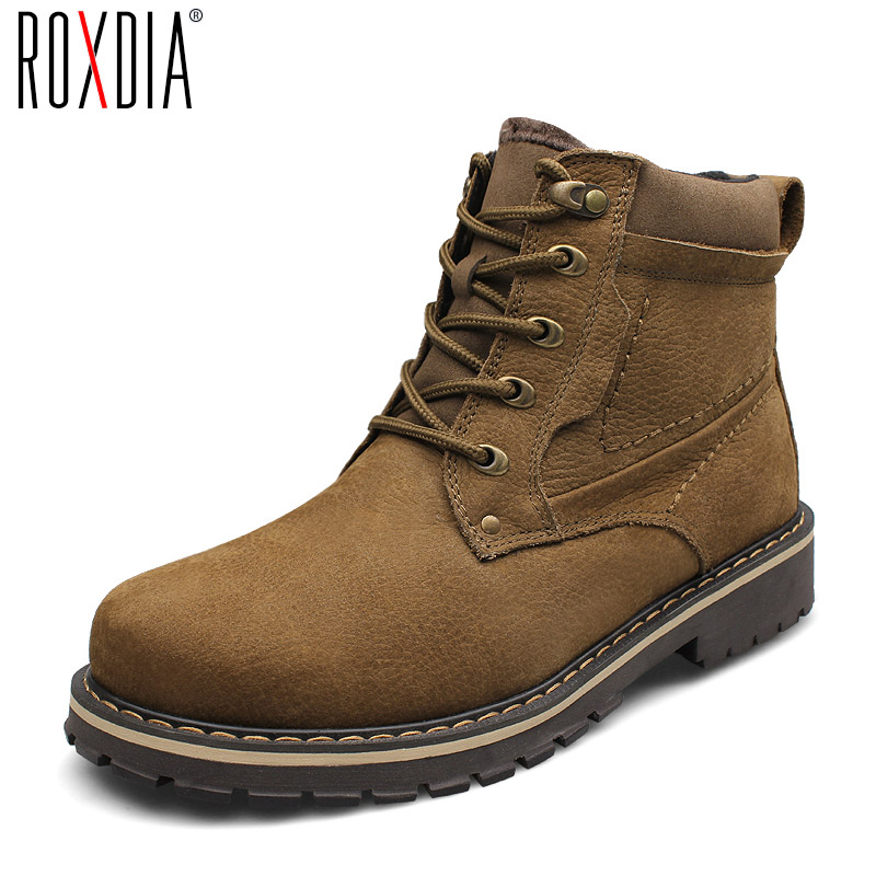 ROXDIA New Fashion Genuine Leather Men Ankle Boots Warm Winter Snow Warm Men's Boot Lace Up Men Shoes Plus Size 39-50 RXM428 iahead men boots genuine leather flats new casual shoes lace up warm winter boots men plus size 38 48 rain shoes men mh586