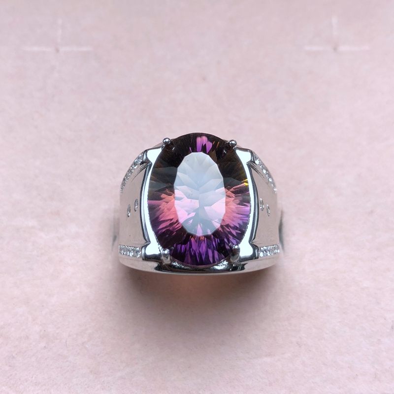 Simple atmospheric style, natural ametrine ring, beautiful color, two-color fire, 925 silver, men's ring,