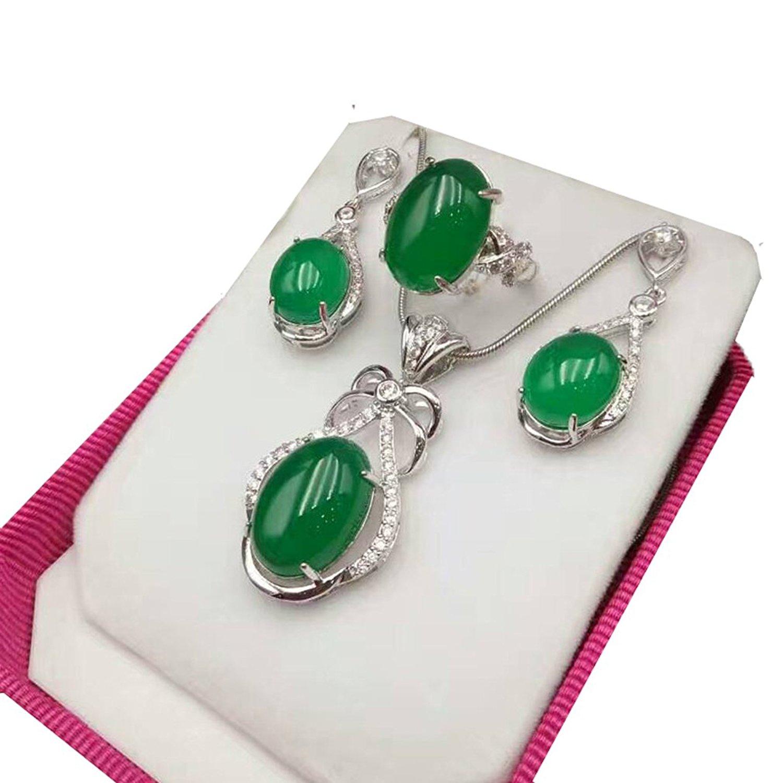925 argent naturel vert herbe calcédoine doigt anneau pendentif collier boucle d'oreille femmes hommes Jade pierres précieuses bijoux cadeau en gros