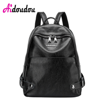 AIDOUDOU BRAND Leather Backpack Bag Litchi pattern Girls School Bags Women  Bag Travel Laptop Luxury Black cac233ee20e48