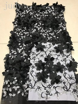 XC54# 8 color embroidery 3D flower and bead fabric French fabric for wedding dress party  Free shipping