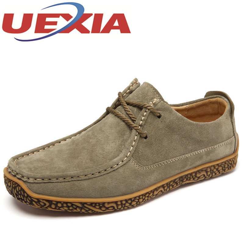 New Men's Suede Leather Casual Shoes Men Spring Autumn Mens British Style Shoes Outdoor Lace-Up Solid Men Flat Zapatos Hombre  autumn leather mens outdoor men canvas shoes mens casual shoes lace up mens men trainers zapatillas zapatos hombre