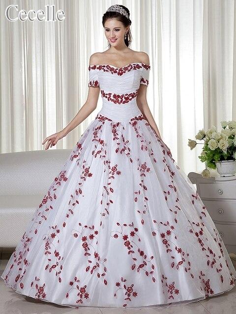 リアルホワイトと赤の夜会服カラフルなウェディングドレスオフショルダー刺繍コルセットバック非ホワイトブライダルドレス