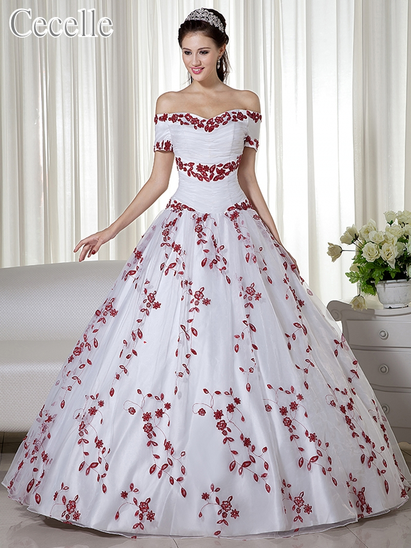 2019 Real White And Red Ball Gown Colorful Wedding Dresses Off the Shoulder Embroidery Corset Back Non White Bridal Gowns