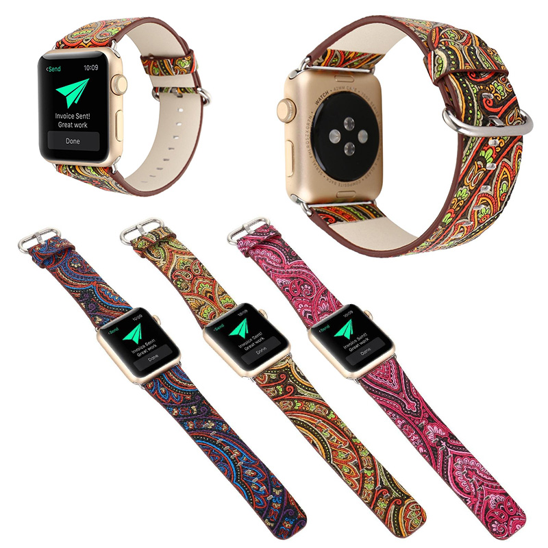 FOHUAS Genuine Leather Loop For Apple Watch Band 42mm iwatch National style strap 38mm women bracelet With Adapter Connector цена и фото