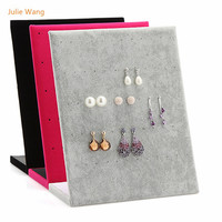 Julie Wang 1PCS High Quality Suede L Shape Earring Ear Stud Holder Rack Jewelry Rack Jewelry