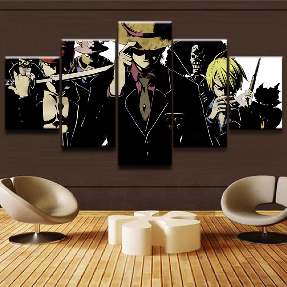 Wall Art Living Room Printed Framework Home Pictures 5 Panel Japanese Anime One Piece Modern HD Decor Canvas Painting Poster