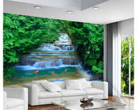beibehang wallpaper for walls 3 d Fashion HD forest river waterfall backdrop decorative painting papel de parede 3D wall paper