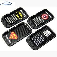 KKYSYELVA 20x11cm Black Superman Car Anti-Slip Mat Non-slip Mobile Mat Cell Phone Key Holder Car Dashboard Sticky Pad