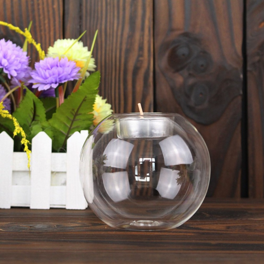 Rounded Hollow Glass Candle Holder 11