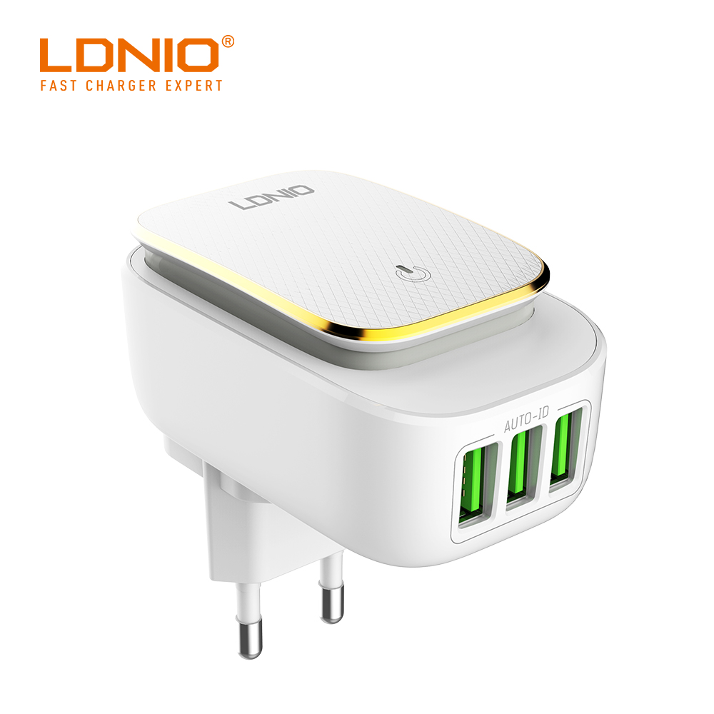 Galleria fotografica LDNIO Auto ID USB US/UK Home Wall Phone Car With Android/ios/Type-C cell phone cable Optional for iPhone/Huawei Cell Phone
