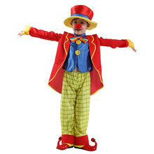Kids Child Funny Naughty Circus Clown Costume Cosplay for Boys Halloween Carnival Party Mardi Gras Fancy Dress B-0201