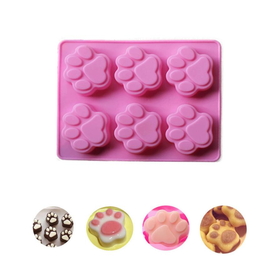 2017 Hot Selling Cat Paw Print Silicone Cookie Cake Candy Chocolate Mold Soap Ice Cube Mold JUL26