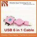 Бесплатная доставка + Выдвижной usb 6 в 1 Мини Micro нескольких USB Зарядное Устройство Кабель для iPhone Samsung HTC Nokia телефон (розовый)