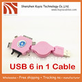 Free shipping+ Retractable usb 6 in 1 Mini Micro multi USB Charger Cable for iPhone Samsung HTC Nokia phone (Pink)