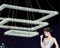 Modern Single Layer LED 3 Square Crystal Pendant Chandelier Creative Lamp Diamond Ring Light Lighting For