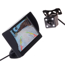 цена на Car Truck Bus 4.3 Inch 12V 24V HD LED Stand Monitor Screen with Rear View Reverse Backup Camera Parking Kit Combo