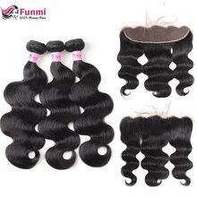 Фунми объемная волна Связки с фронтальной перуанские пучки волос с фронтальной 3 Связки с фронтальной 100 Необработанные Девы человеческих волос