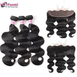 Фунми объемная волна Связки с фронтальной перуанские пучки волос с фронтальной 3 Связки с фронтальной 100 Необработанные Девы человеческих