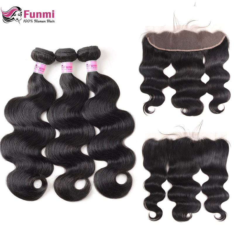 Funmi Body Wave Bundles With Frontal Peruvian Hair Bundles With Frontal 3 Bundles With Frontal 100 Unprocessed Virgin Human Hair