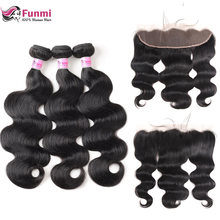 Funmi Body Wave Bundles With Frontal Peruvian Hair Bundles With Frontal 3 Bundles With Frontal 100 Unprocessed Virgin Human Hair(China)