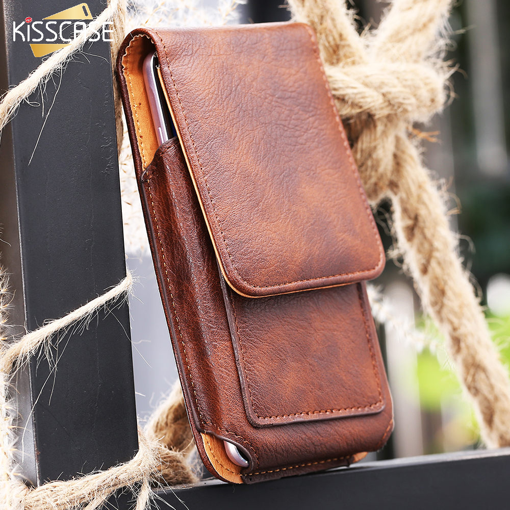 KISSCASE Universal Man Waist Bag Case With Clip Belt For Samsung Galaxy S8 S4 S5 S6