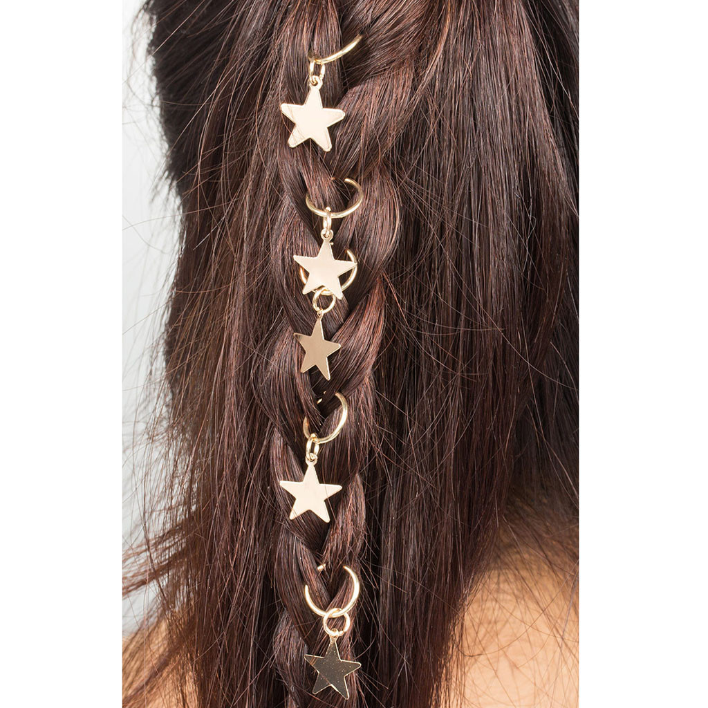 Hair Clips Accessory Women Hip-Hop Braid Hand Cross Shell Star Ring  5PC Executor Cruz Concha Estrela Anel Gancho De Cabelo