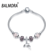 2016 New 100% Real Pure 925 Sterling Silver Jewelry Charm Bracelets with Dolphin for Women Best Gifts Free Shipping PDRSVH001