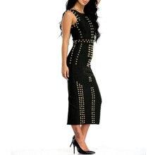 INDRESSME 2017 Good Quality Celebrity Kim Kardashian Dress Sleeveless Beaded Bandage Dress Long