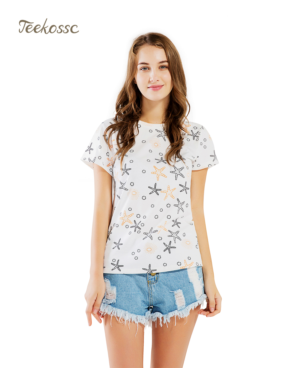 Starfish Women T Shirt Summer Tops Tee Cotton Short Sleeve T-Shirt Star Cute Hipster T Shirts Cotton Camiseta Femme Girl Tees