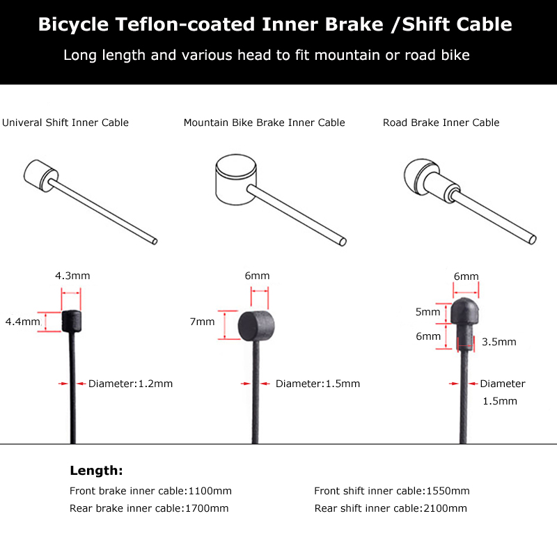 1pc Teflon Coated Wire For Bicycle MTB Road Bike Shifter Brake Front Rear Derailleur Brake Cable (1)