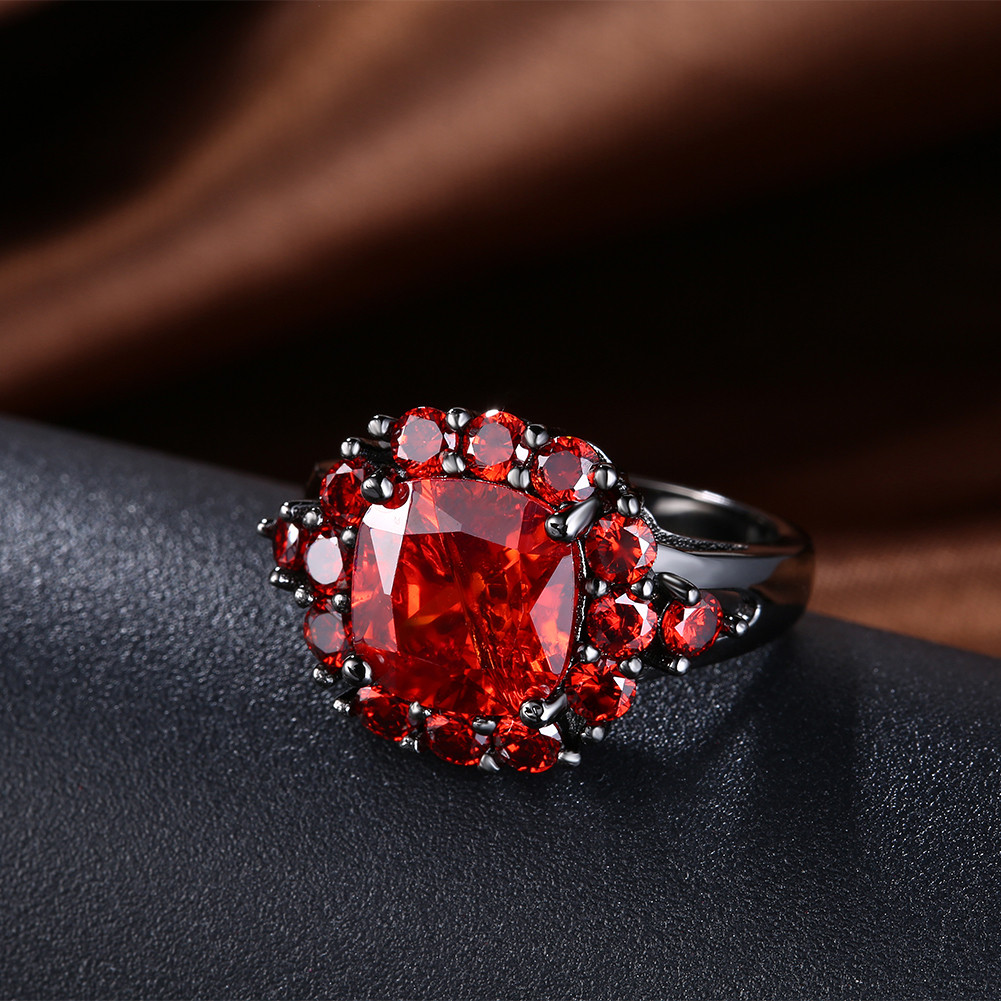 Vintage women Rings Big Black red purple pink cz stone four color ...