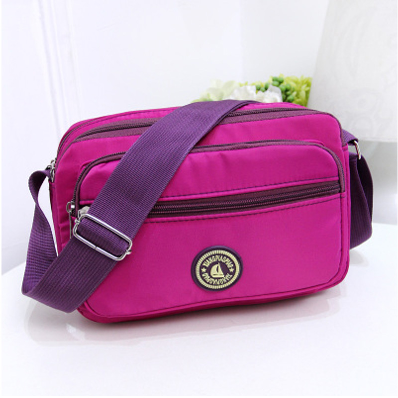 QZH Waterproof Nylon Women Messenger font b Bags b font Leisure Fashion Casual Solid font b