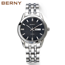 Berny Top Luxury Brand Quartz Watch Men's with Stainless Steel Strap Waterproof Watches Clock Male New