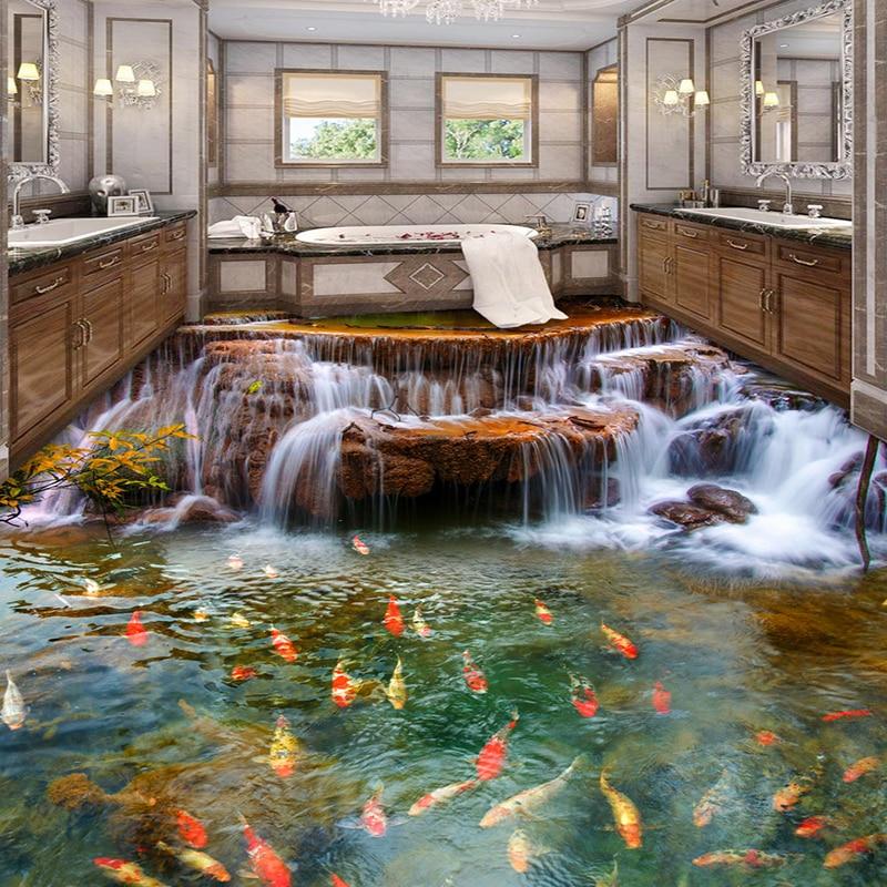 Chinese style waterfall carp 3d floor mural wallpaper for Chinese mural wallpaper