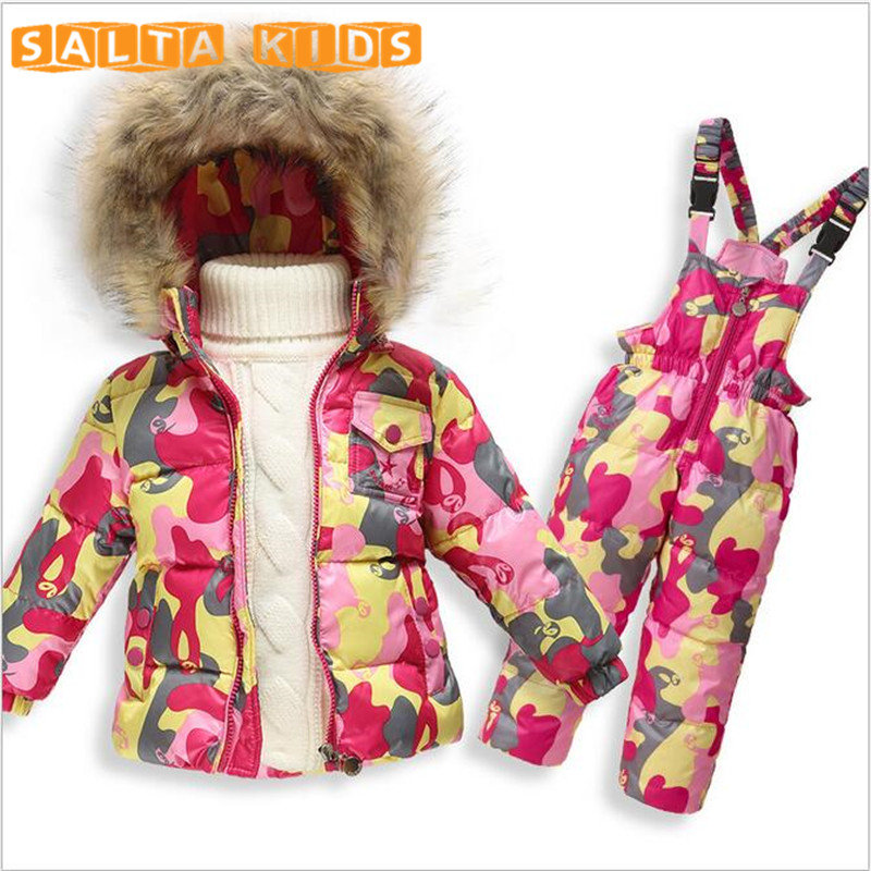 Kids Clothes Baby Boys Girls Winter Down Coat Children Warm Jackets Toddler Snowsuit Outerwear Coat+Pant Clothing Set  LL405